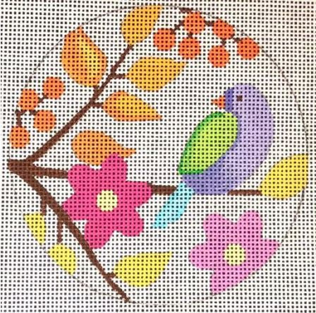 Birds & Blooms - ornament - violet bird 1