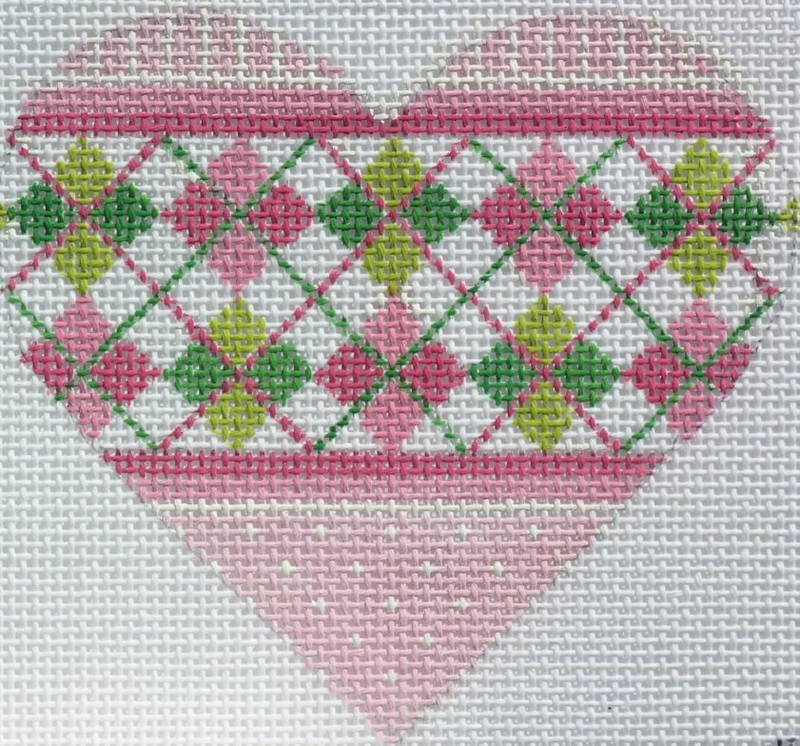 Argyle Mini Heart with Stitch Guide - BeStitched Needlepoint