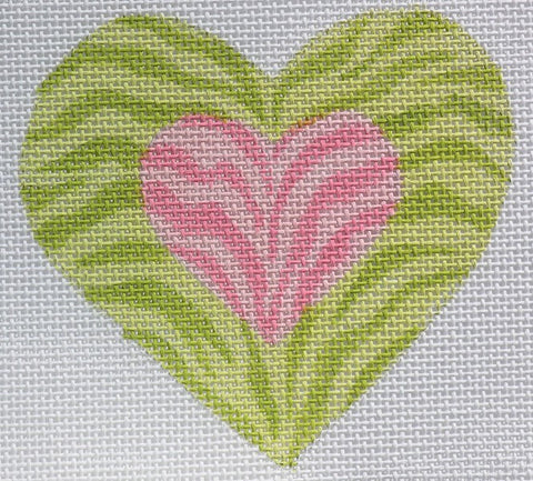 Double Zebra Mini Heart - BeStitched Needlepoint