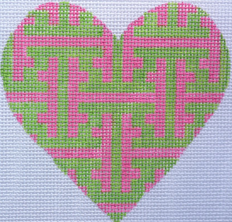 Chinoiserie Lattice Mini Heart - BeStitched Needlepoint