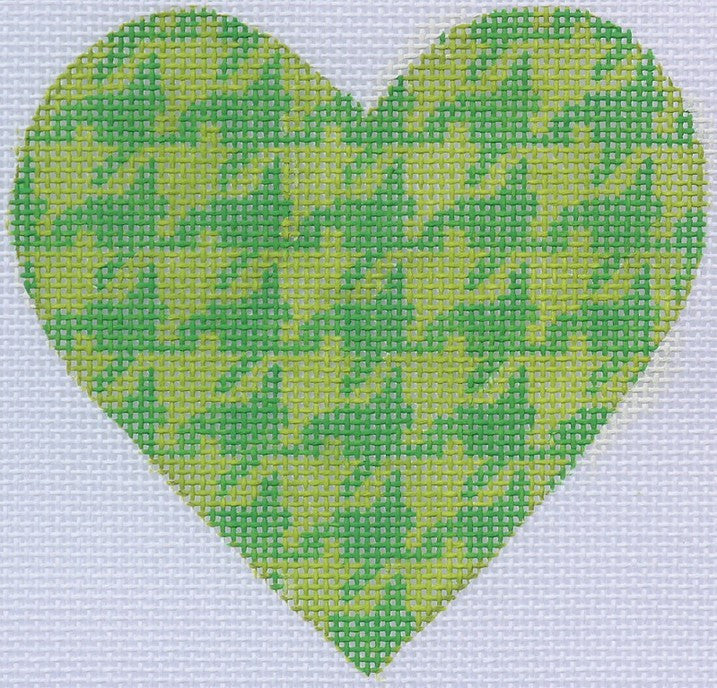 Green Houndstooth Mini Heart