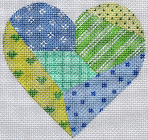 Green and Blue Patchwork Mini Heart