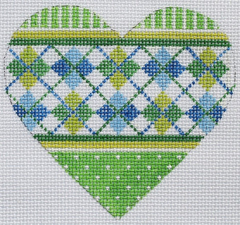 Green and Blue Argyle Mini Heart
