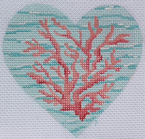 Coral on the Sea Mini Heart - BeStitched Needlepoint