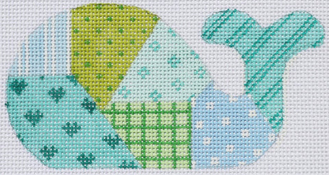 Blue and Green Patchwork Mini Whale - BeStitched Needlepoint
