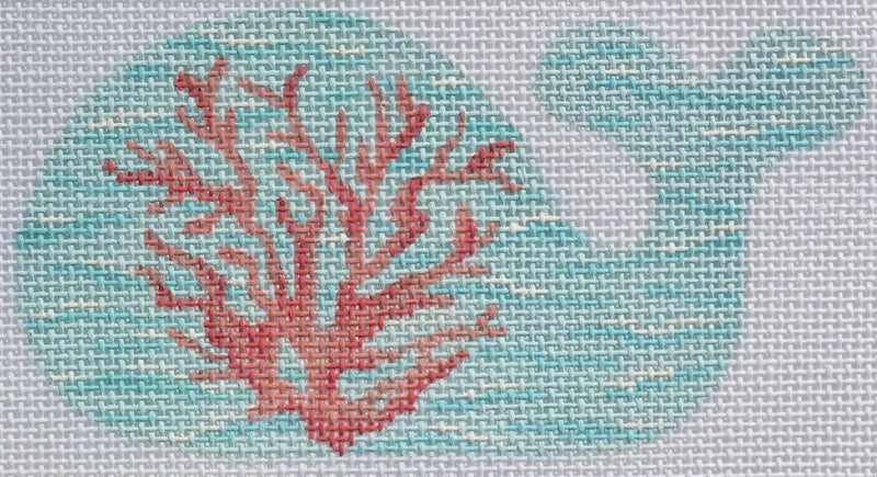 Coral on the Sea Mini Whale - BeStitched Needlepoint