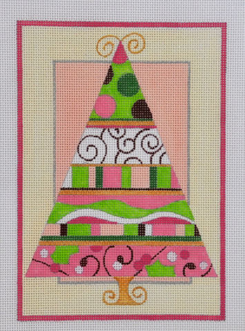 Pink and Green Christmas Tree - BeStitched Needlepoint