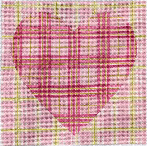 Double Madras Heart Square - BeStitched Needlepoint