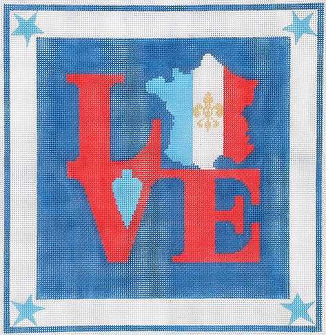 Robt. Indiana Style LOVE with French Flag Map