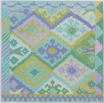 Kilim Square with Stepped Diamonds - Caribbean