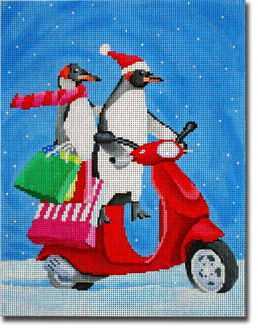 Penguins on Scooter Shopping
