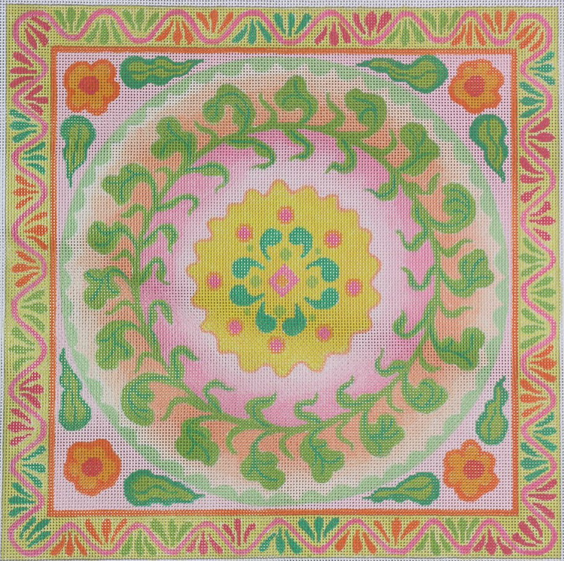 Mexican Embroidery Style Circle In A Square