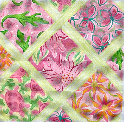 Lilly Lattice Patchwork Medium Square -Pinks
