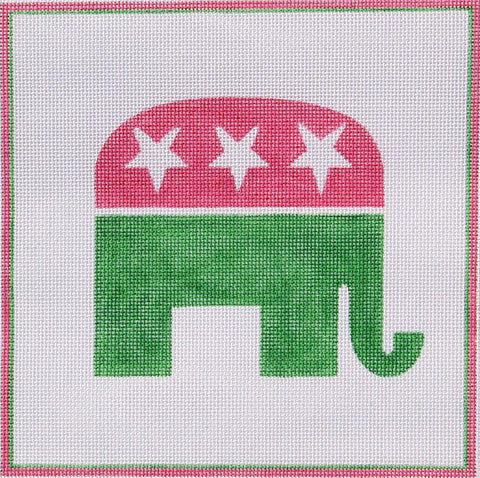 Pink and Green Republican Elephant