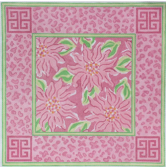 Lilly - Chrysanthemums w/ Chinoiserie & Leopard Border - pinks and greens