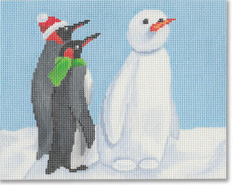 Penguins with Snowman