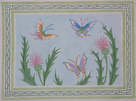 Large Chinese Butterflies & Thistle w/ Everlasting Border