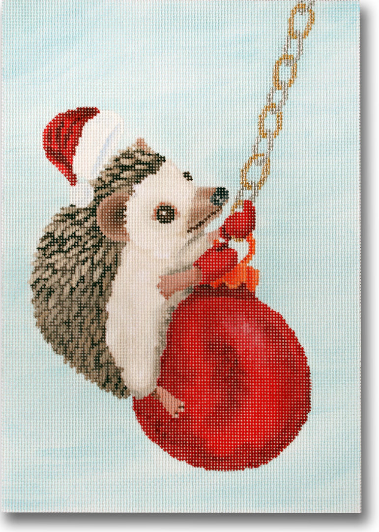 Hedgehog Swinging on Ornament