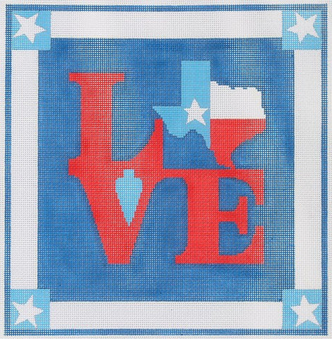 Robt. Indiana Style LOVE with State of Texas Flag