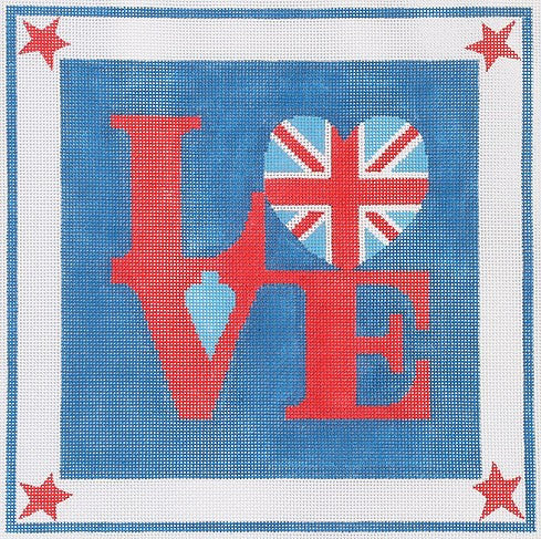 Robt. Indiana Style LOVE with British Flag Heart
