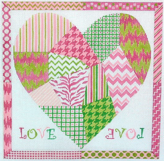 Funky Patchwork Heart Square - BeStitched Needlepoint