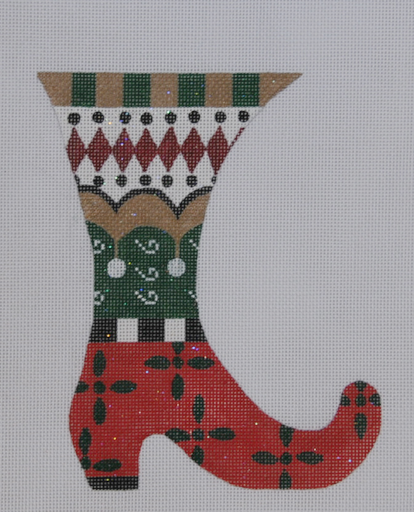 Red/Green Boot - BeStitched Needlepoint