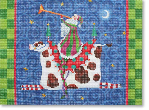 Santa Riding a Cow - BeStitched Needlepoint