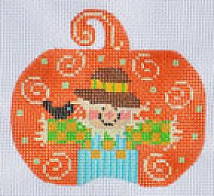 Scarecrow Pumpkin with Stitch Guide - BeStitched Needlepoint
