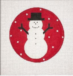 Simple Snowman, Red Ornament