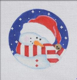 Shy Snowman, red/white ornament