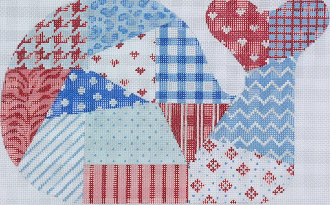 Medium Whale - Patchwork - red, white & blue