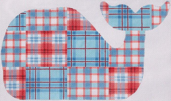 Medium Whale - Madras Patchwork - red, white & blue (left)