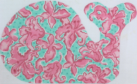 Medium Whale - Lilly Lilies & Butterflies - Pinks on Turquoise