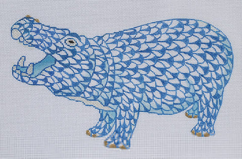 Herend Inspired Fishnet Hippo - Blue w/ Gold