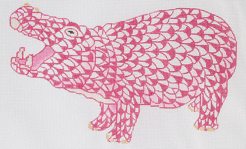 Herend Inspired Fishnet Hippo - Pink w/ Gold