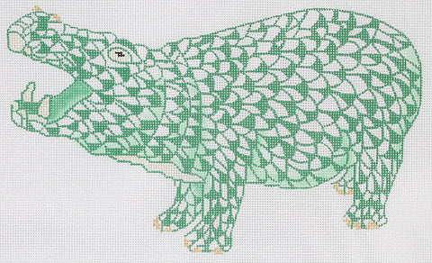 Herend Inspired Fishnet Hippo - Emerald Green w/ Gold