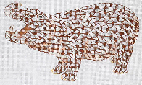 Herend Inspired Fishnet Hippo - Brown w/ Gold