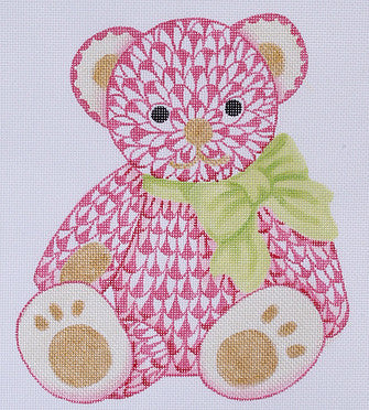 Herend Inspired Fishnet Teddy Bear - Pinks w/ Limes & Gold