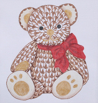 Herend Inspired Fishnet Teddy Bear - Brown w/ Gold & Red Ribbon