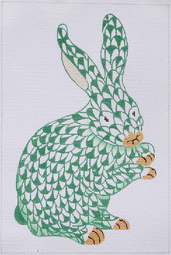 Herend Inspired Fishnet Standing Bunny - Emerald Green w/ Gold