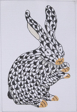 Herend Inspired Fishnet Standing Bunny - Black w/ Gold