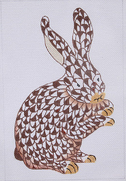 Herend Inspired Fishnet Standing Bunny - Brown w/ Gold