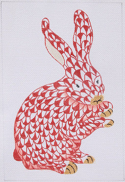 Herend Inspired Fishnet Standing Bunny - Cinnabar w/ Gold
