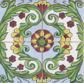 Tuscan Tiles - Greens, Floral