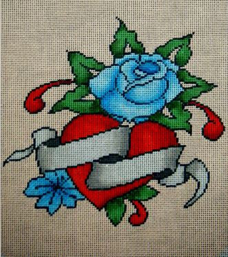 Heart & Blue Rose Purse Flap