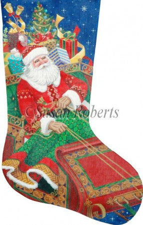 Santa's On His Way stocking
