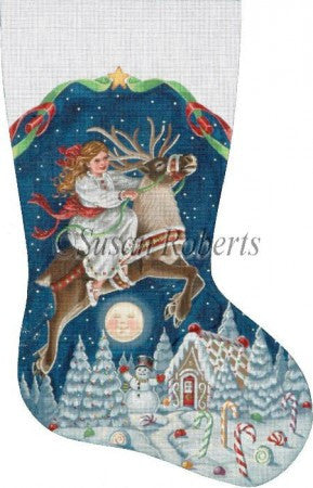 Girl On Reindeer stocking