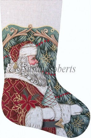 Santa w/Tree & Poinsettia stocking