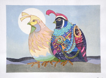 Two Quail in the Moon - BeStitched Needlepoint