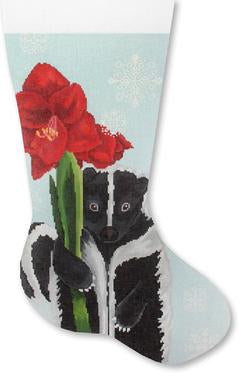 Skunk w/ Amaryllis stocking